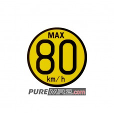 80  km/h MAX Speed Safety Warning Spare Wheel Sticker / Decal  - Genuine Toyota - SW20 - NEW